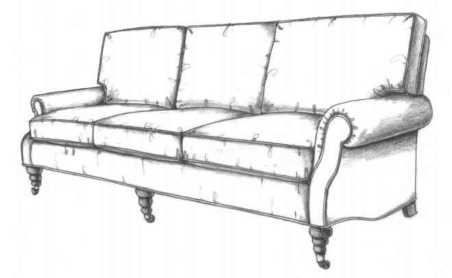 HF-3900 SF - Sofa, Curve Back Roll Arm